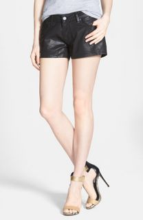 Paige Denim Makayla Coated Denim Shorts (Black Silk)