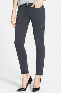 Paige Denim Ivy Zip Detail Skinny Ankle Jeans (Black Current)