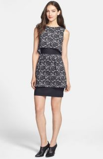 Nicole Miller Layered Lace Print Dress