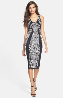Nicole Miller Jacquard Double Knit Midi Dress