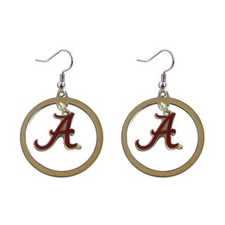 Stainless Steel NCAA Alabama Crimson Tide Logo Hoop Earring Set College Themed