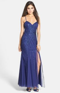 Sean Collection Beaded Mesh Gown