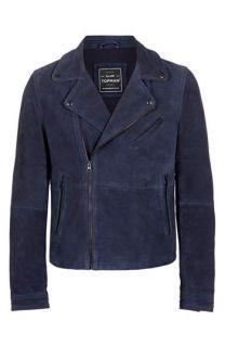 Topman Blue Suede Biker Jacket