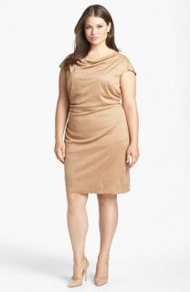 Kay Unger Faux Stretch Suede Sheath Dress (Plus Size)