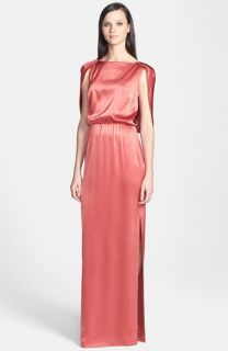 St. John Collection Liquid Satin Cape Back Gown