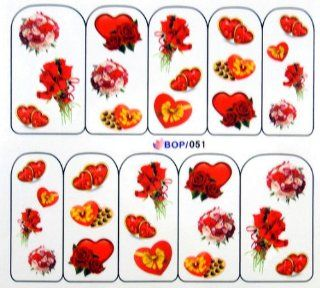 Egoodforyou BLE Water Slide Water Transfer Nail Tattoo Nail Decal Sticker Oil Portray (Bunches of Roses Flowers, Red Hearts and Candies) with one packaged nail art flower sticker bonus: Beauty