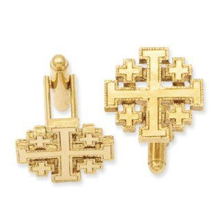 Gold tone Jerusalem Cross Cuff Links   Perfect Religious Gift: Jewelry
