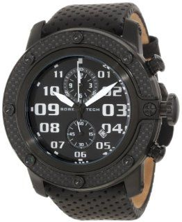 Glam Rock Men's GR33112 SoBe Chronograph Black Dial Black Perforated Leather Watch: Watches