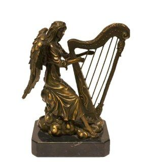 "Pure Bronze Angel Playing Harp Statue Figurine Bust Sculpture Beautiful 9""H"