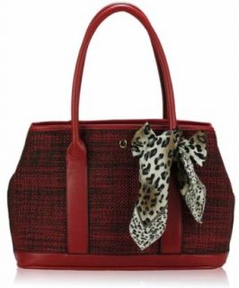 "Red Exquisite Cow Print Scarf Matching Handle Padded Shoulder Tweed Designer Handbag (16"" x 10"") with PreciousBags Dust Bag: Clothing"
