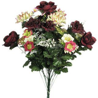 "24"" Peony Daisy Bell Mix Flowers Silk Bush   Burgundy 184   Artificial Shrubs"