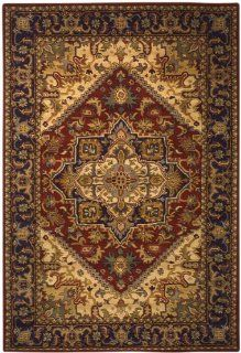 Safavieh Heritage Collection HG625A Handmade Red and Navy Hand Spun Wool Area Rug, 5 Feet by 8 Feet