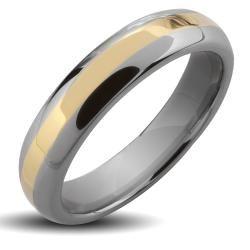 Tungsten Carbide Gold Stripe Ring Men's Rings