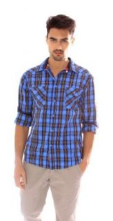 "191 Unlimited ""Hoover"" Blue Plaid Shirt: Clothing"