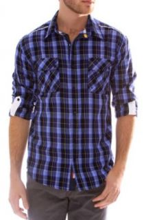 "191 Unlimited ""Izzy"" Blue Plaid Roll Tab Shirt (XX Large): Clothing"