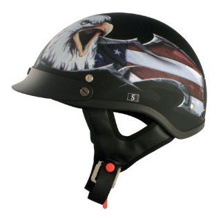 VCAN V531 Cruiser Patriotic Eagle Graphics Half Helmet (Flat Black, Large): Automotive