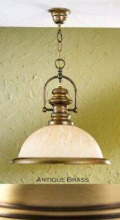 Lustrarte 206 00 1422 Antique Brass Marble One Light Bowl Pendant from the Marble Collection