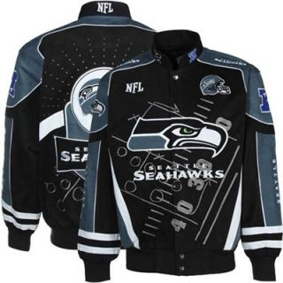Seattle Seahawks Navy Blue College Navy Scoreboard Full Button Twill Jacket
