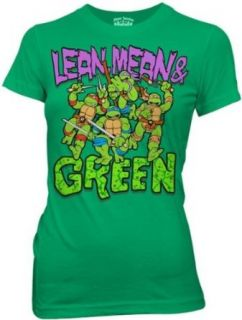 Teenage Mutant Ninja Turtles   Lean Mean Green Girls T Shirt In Kelly Green, Size: X Large: Clothing