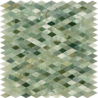 Arizona Tile ST 206 Sterling 12 by 12 Inch Tumbled/Polished Mini Rhomboid Stone Mosaic, Green Onyx, 4 Pack   Marble Tiles