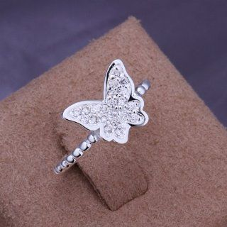 925Silver Women Fashion Plated Solid Sterling Silver Butterfly Crystal Ring Rings+Box 207