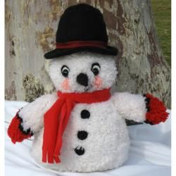 "Huggables Snowman Stuffed Toy Latch Hook Kit 16"" Tall MCG Textiles Latch Hook Kits"