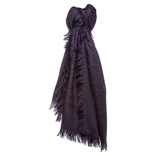Fendi Purple Oversized Zucca Silk and Wool Wrap Fendi Designer Scarves & Wraps