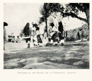 1908 Print Dancers Danza Conquista Juquila Mexico Indigenous People Celebration   Original Halftone Print