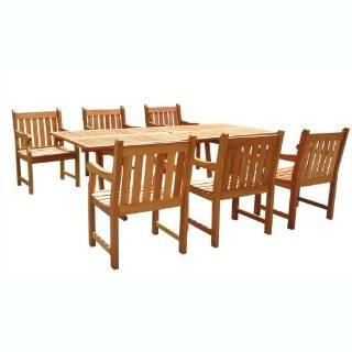 VIFAH V232SET1 English Garden 7 Piece Dining Set with Rectangular Extension Table, Natural Wood Finish, 91 by 39 by 29 Inch : Outdoor And Patio Furniture Sets : Patio, Lawn & Garden