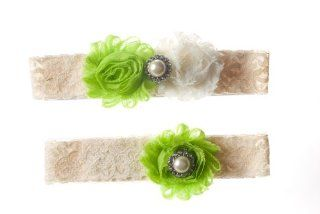 Lime Green and Ivory Shabby Flower Wedding Garter Set : Other Products : Everything Else