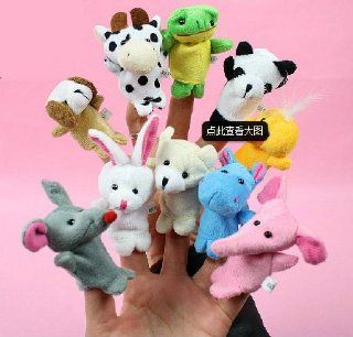 10pcs Wholesale Finger Hand Animal Shaped Puppets Baby Childs Kids Learn Story Xmas Toy Gift: Toys & Games