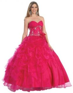 Ball Gown Formal Prom Strapless 2 in 1 Designer Short/Long Wedding Dress #231: Clothing