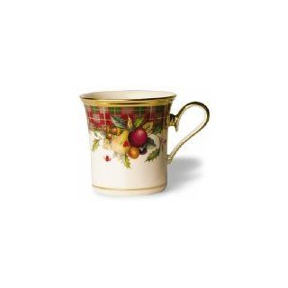 Lenox Holiday Tartan Gold Banded Ivory China Accent Mug: Kitchen & Dining