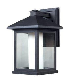 Z Lite 523B Mesa Outdoor Wall Light, Aluminum Frame, Black Finish and Clear Beveled and Matte Opal Shade of Glass Material   Wall Porch Lights