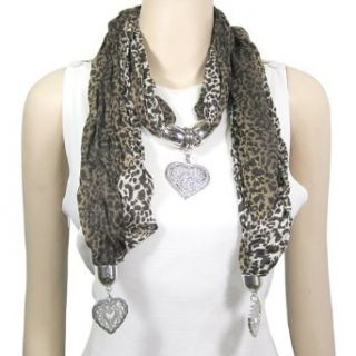 Heart Charm Jewelry Scarf Animal Print, Snake Print Grey at  Women�s Clothing store