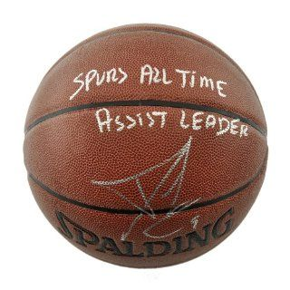 Tony Parker San Antonio Spurs Autographed Spalding Indoor Outdoor Basketball with Spurs All Time Assist Leader Inscription   Mounted Memories Certified: Sports Collectibles