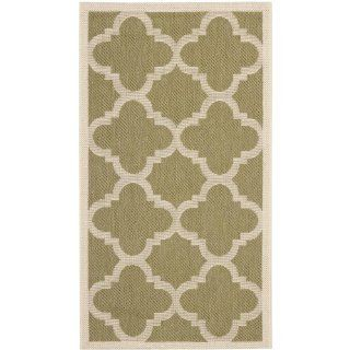 Safavieh CY6243 244 Courtyard Collection Indoor/Outdoor Area Rug, 2 Feet 7 Inch by 5 Feet, Green and Beige