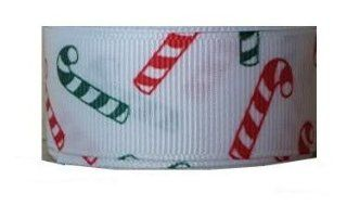 50 Yds Grosgrain Ribbon Christmas Red and Green Candy Cane   7/8 Inch