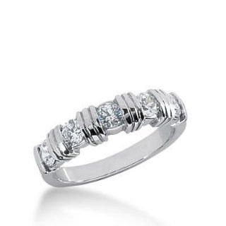 950 Platinum Diamond Anniversary Wedding Ring 5 Round Brilliant Diamonds 0.75 ctw. 245WR1090PLT: Wedding Bands Wholesale: Jewelry