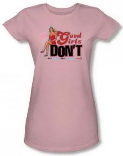 90210 Good Girls Don'T Junior Pink Sheer Cap Sleeve T Shirt CBS248 JS: Clothing