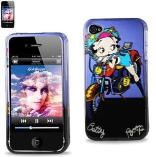 Betty Boop Fitted Snap On HARD Faceplate Protector Case Cover (Betty on Bike with Purple and Black Background) for Apple iPhone 4S / 4G / 4 (Fits any carrier AT&T, VERIZON AND SPRINT) + Free WirelessGeeks247 Detachable Neck Strap / Lanyard: Everything