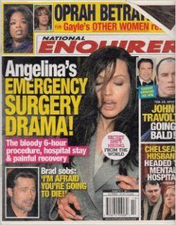 March 7, 2011 National Enquirer Angelina Jolie's Emergency Surgery Drama John Travolta Going Bald Chelsea Clinton's Husband Headed to Mental Hospital American Media Inc. Books