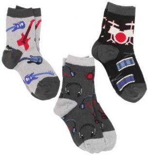 Jefferies Socks Boys 2 7 Rock Star Triple Treat 3 Pair Sock Pack, Rock, 1 2: Clothing