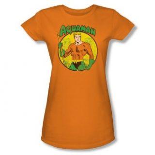 DC Aquaman Juniors Orange Sheer Cap Sleeve T Shirt DCO271 JS Clothing