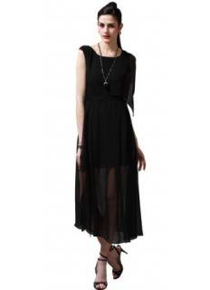 Maxchic Women's Asymmetrical Sleeve Semi See through Silk Maxi Dress C08134G13M, Black, Large at  Women�s Clothing store