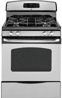 GE JGB295SERSS 30'' Freestanding Gas Range with 4 Sealed Burners, 16,000 BTU PowerBoil Burner, 5.0 cu. ft. Self Clean Convection Oven, Continuous Grates, QuickSet IV Controls and Storage DrawerStainless Steel Appliances