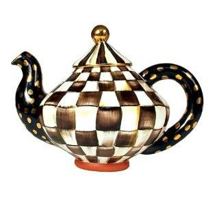 MacKenzie Childs Courtly Check Teapot: Kitchen & Dining