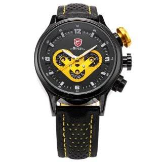 SHARK Date Day 24 Hours Display Mens Leather Yellow Outdoor Sport Wrist Watch SH091: Mr. Leonardo Cristiano: Watches