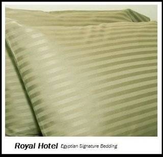 Royal Hotel's Stripe Sage 300 Thread Count 4pc Queen Bed Sheet Set 100% Egyptian Cotton, Sateen Stripe, Deep Pocket, 100% Cotton   Pillowcase And Sheet Sets
