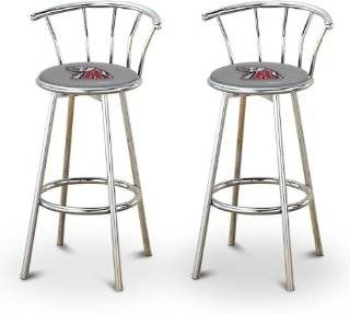 "2 24"" Alabama Crimson Tide Logo Themed Custom Specialty Chrome Bar Stools Swivel Seat Counter Height Bar Stools with Back Rest   Barstools With Backs"
